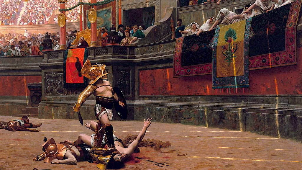 Were thumbs-up/thumbs-down gestures used to mean life and death in Roman gladiatorial arenas?